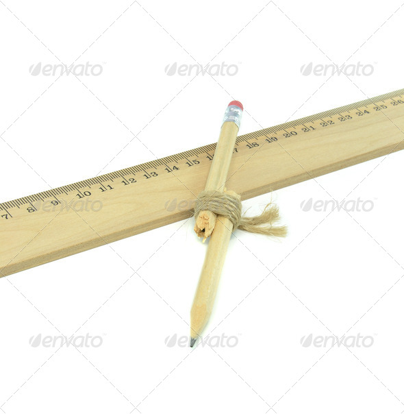 A Broken Pencil and Ruler - Stock Photo - Images