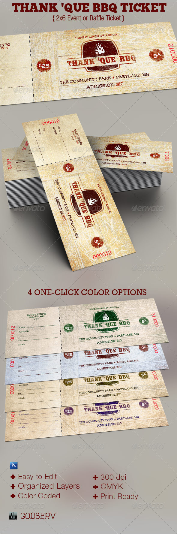 Western BBQ Charity Ticket Template - Miscellaneous Print Templates