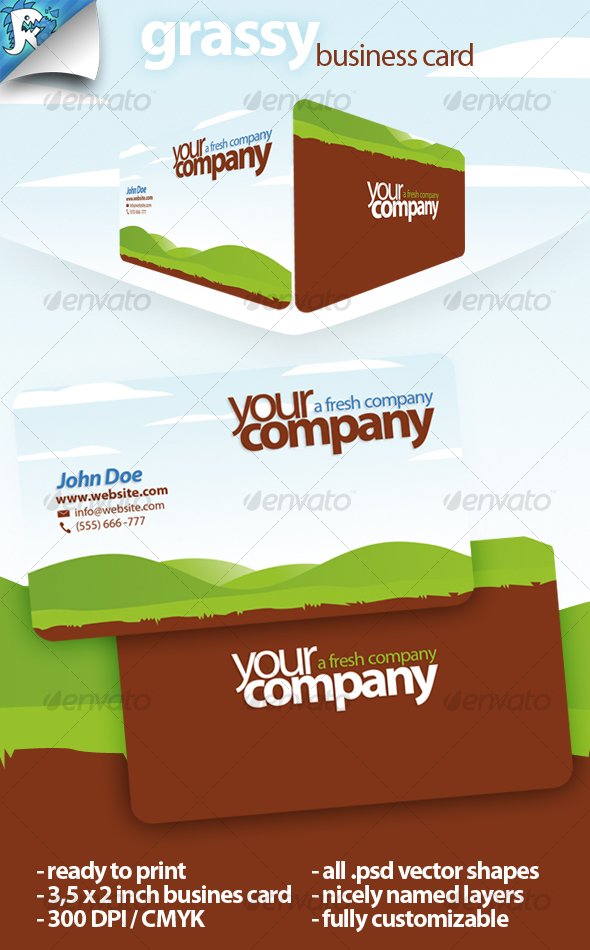 Grassy Business Card - Stay green - Creative Business Cards