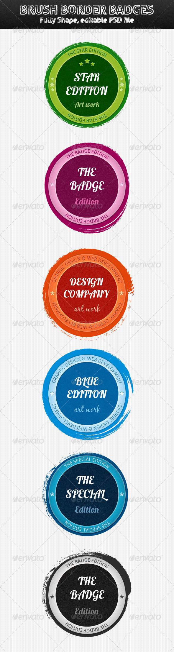 Brush Border Badges - Badges & Stickers Web Elements