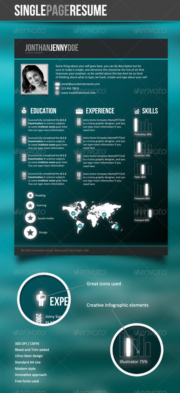 Futuristic Style Single Page CV - Resumes Stationery
