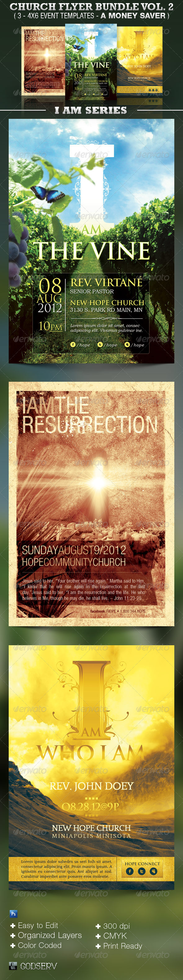 I Am Church Flyer Template Bundle Vol 2 - Church Flyers