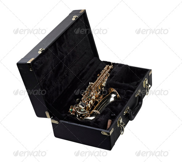 golden saxophone in black case - Stock Photo - Images