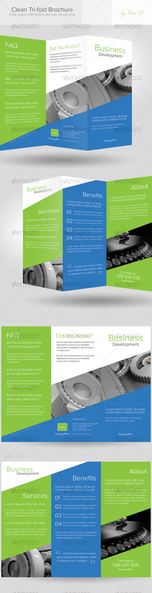 Clean Tri-fold Brochure - Corporate Brochures