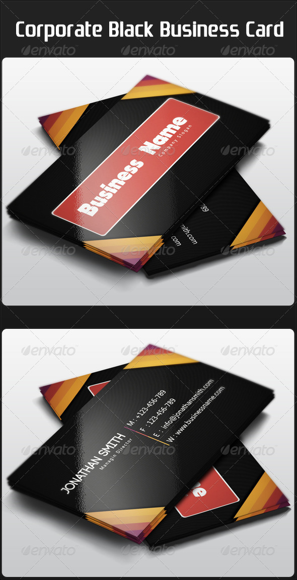 Corporate Black Business Card - Corporate Business Cards