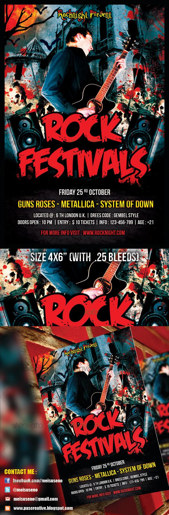Rock Festivals Flyer Template - Events Flyers