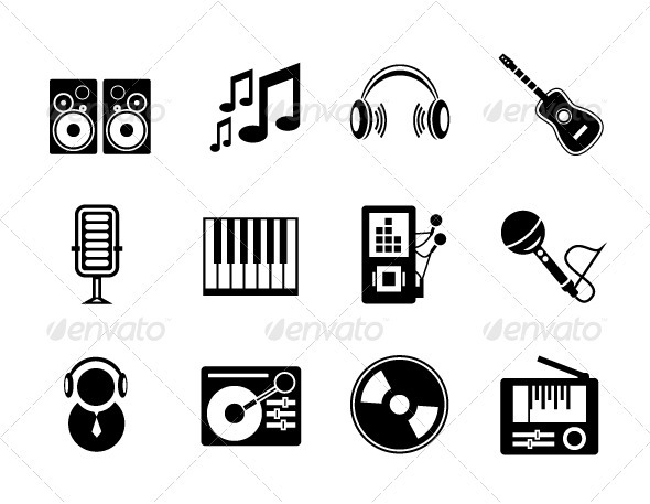 Vector Music Icons - Media Technology