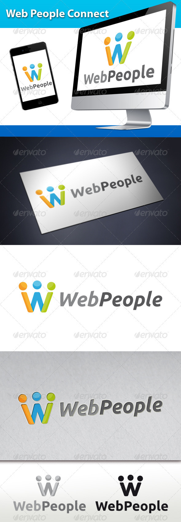 Web People Connect Logo Preview - Letters Logo Templates