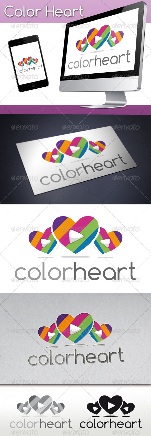 Color Heart Play Media Logo - Symbols Logo Templates