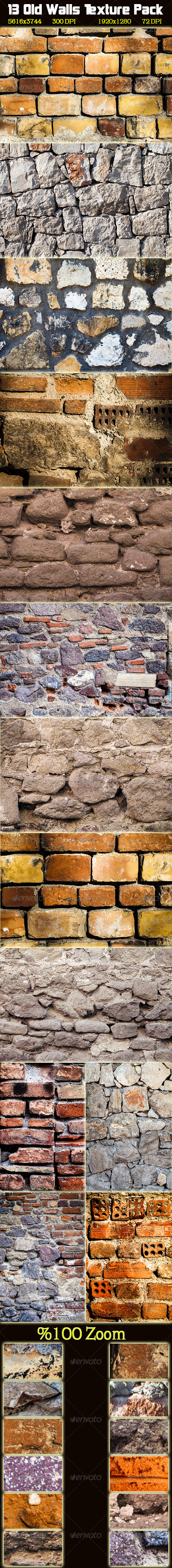 13 Old Wall Texture Pack - Stone Textures