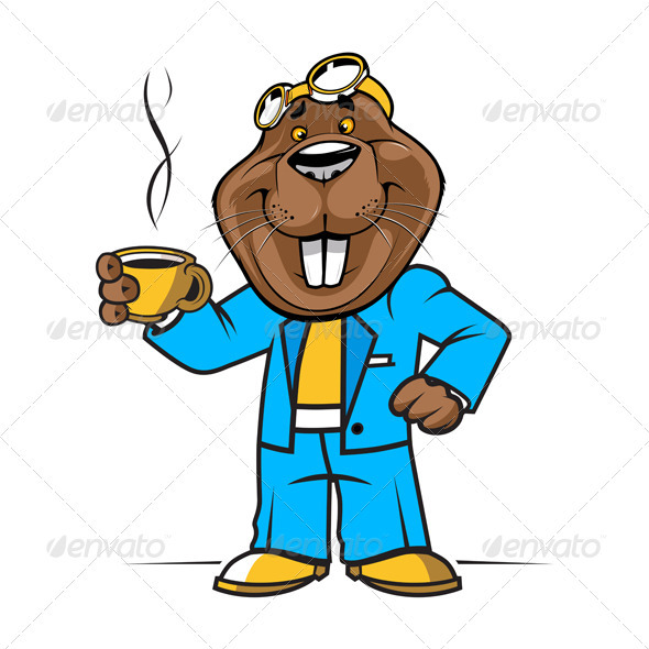 Cartoon Beaver Or Groundhog Mascot - Animals Characters
