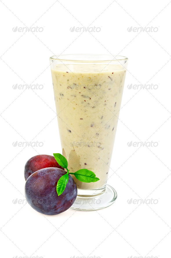 Milkshake with two plums - Stock Photo - Images