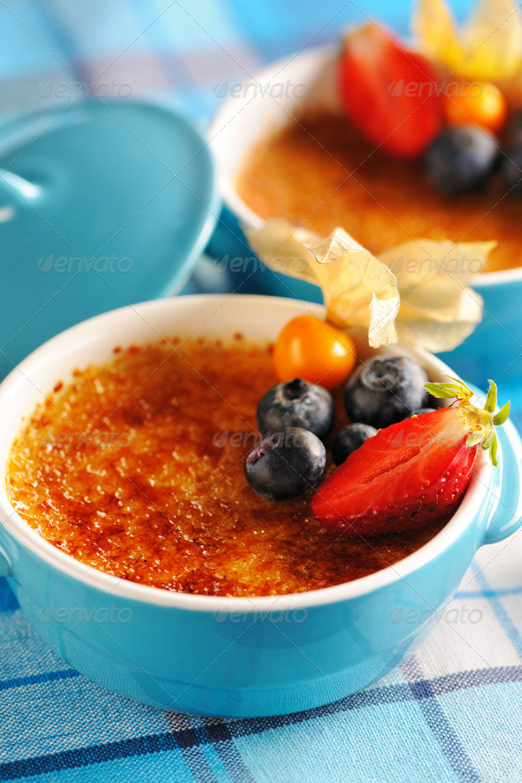 Creme brulee (cream brulee, burnt cream) - Stock Photo - Images