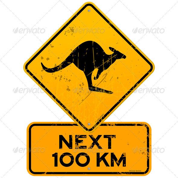 Roadsign Kangaroos Next 100 km - Objects Vectors