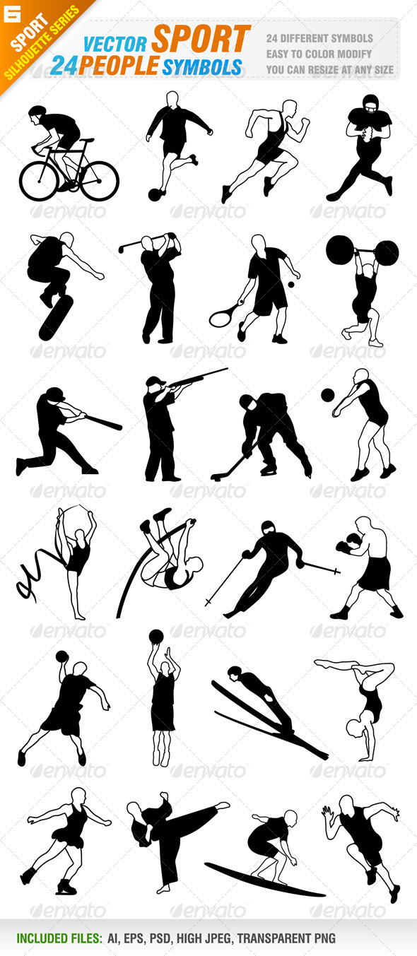 24 Sport people symbols - Sports/Activity Conceptual