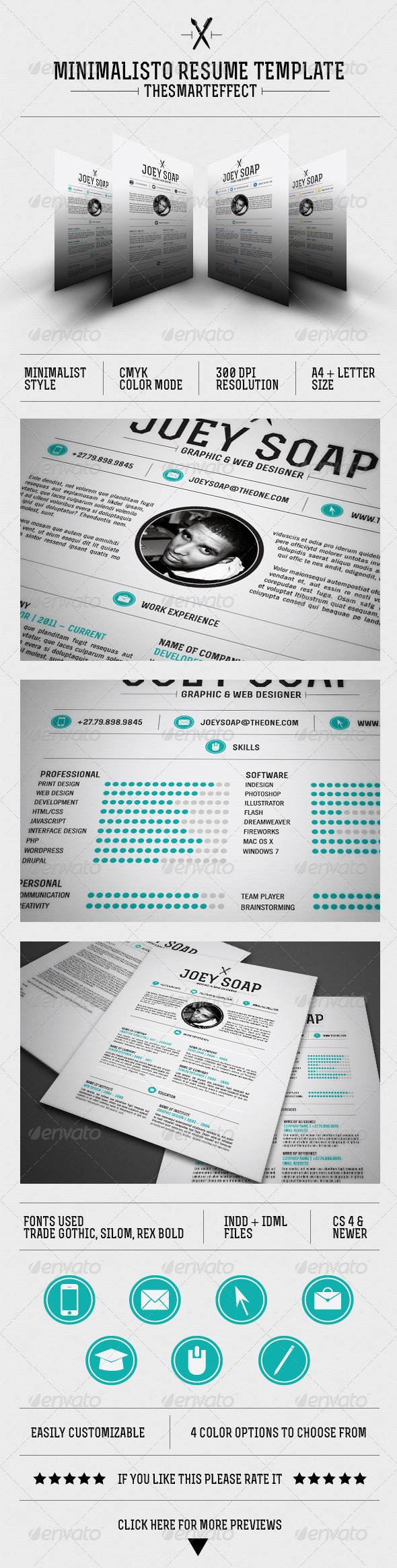 Minimalisto Resume Template - Resumes Stationery