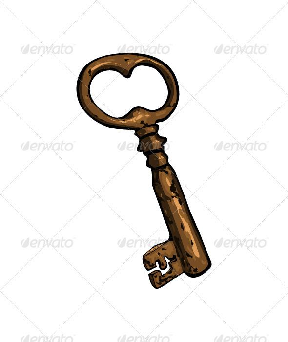 Old rusty cartoon key  - Objects Vectors