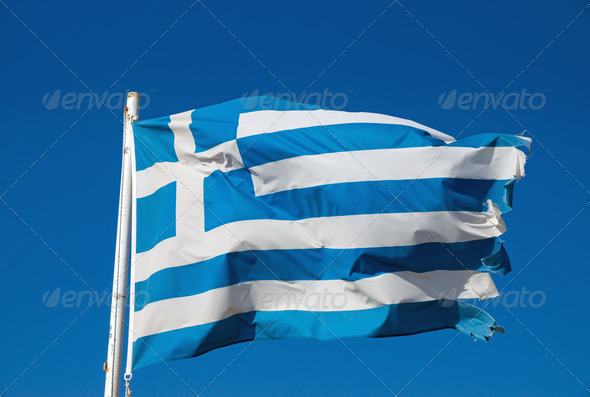 Greek national flag - Stock Photo - Images