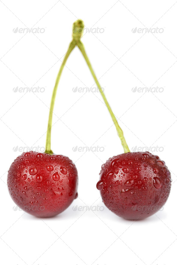 fresh cherries with water droplets isolated - Stock Photo - Images