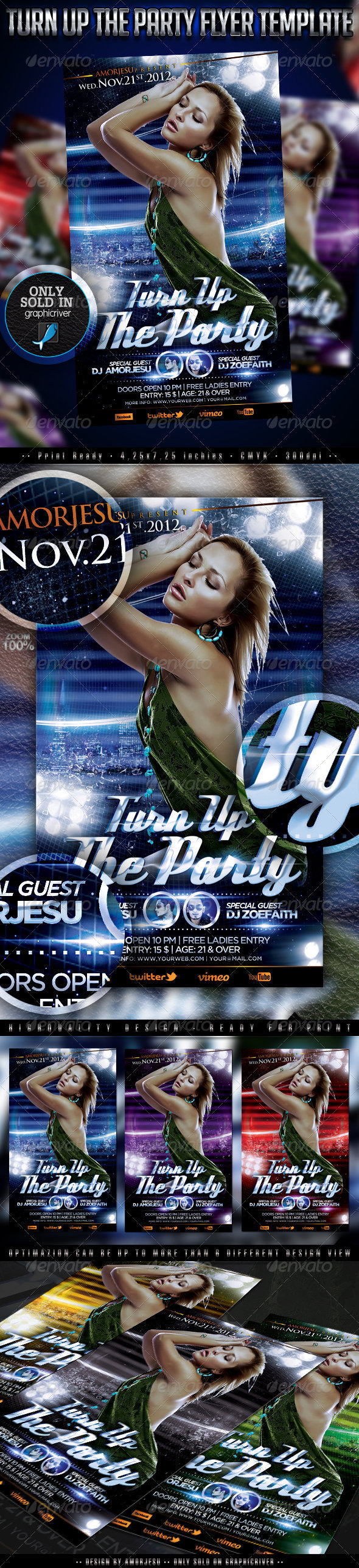 Turn Up The Party Flyer Template - Events Flyers