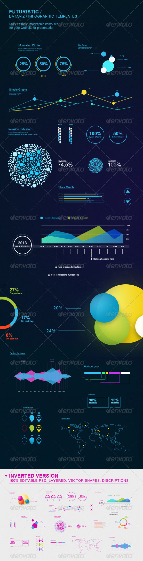 Futuristic Infographic Elements Set - Infographics