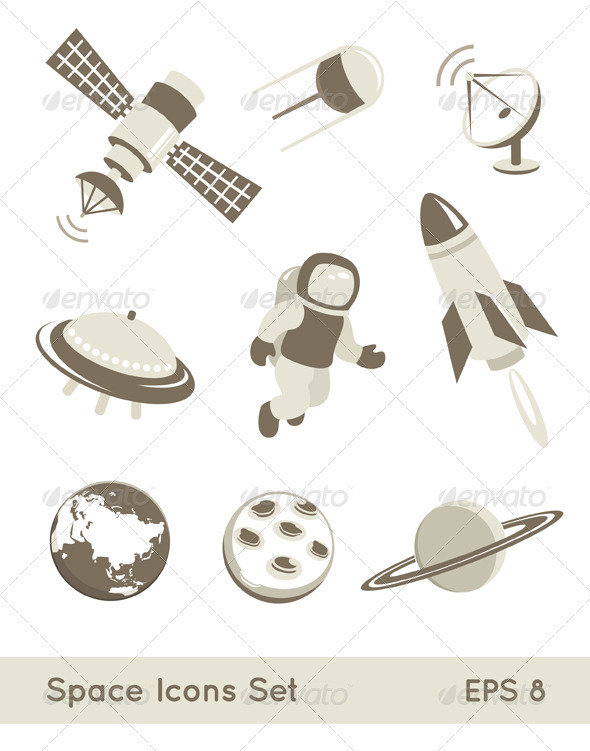 Space And Air Transport Icons Set - Industries Business