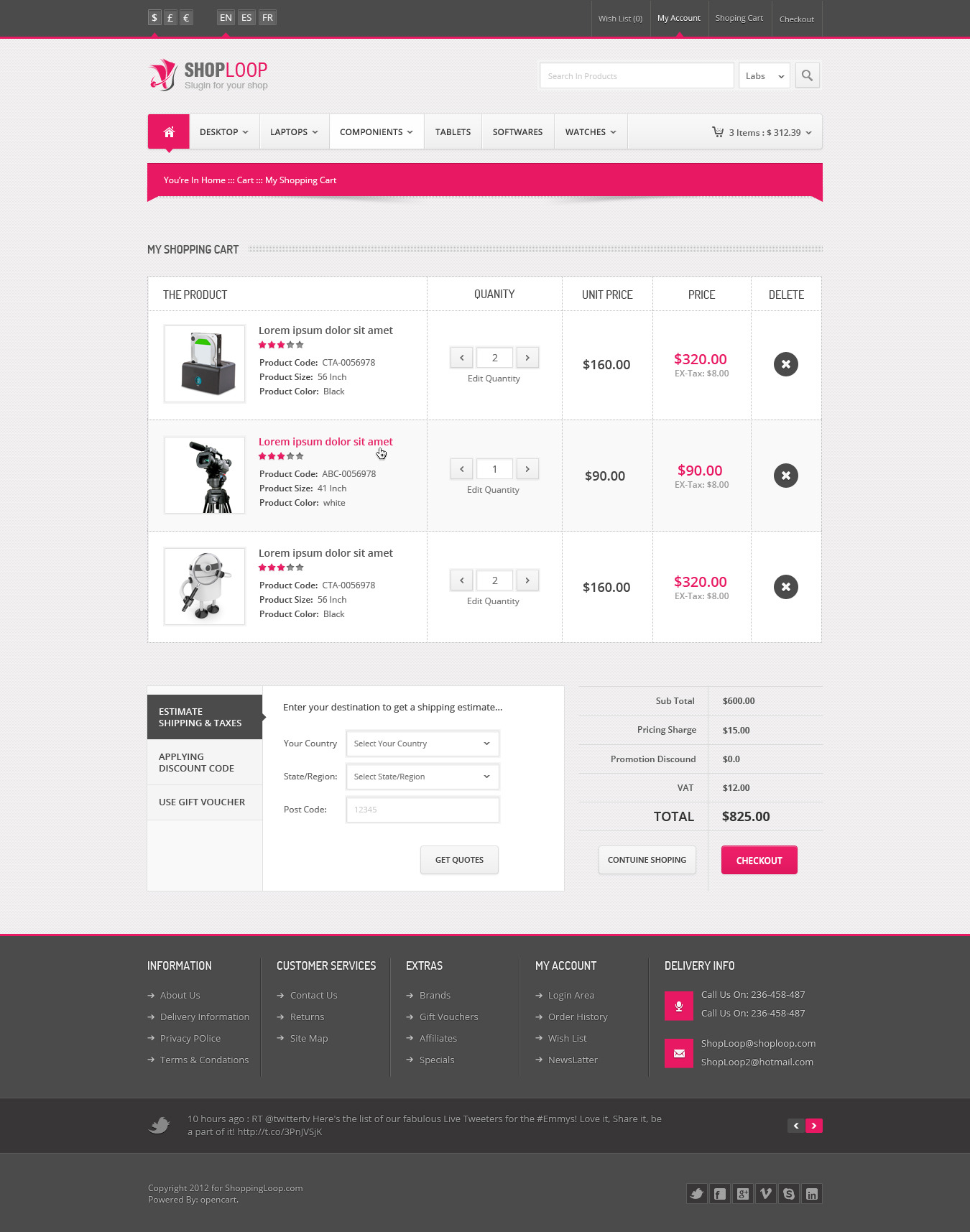 Shoploop Responsive Html ECommerce Template By Ahmedchan ThemeForest - Responsive shopping cart template