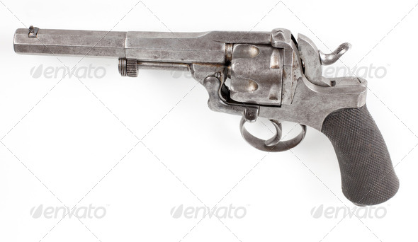 rusty silver pistol - Stock Photo - Images
