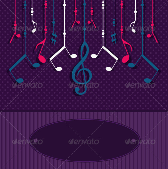 Greeting Card with Musical Notes - Decorative Vectors