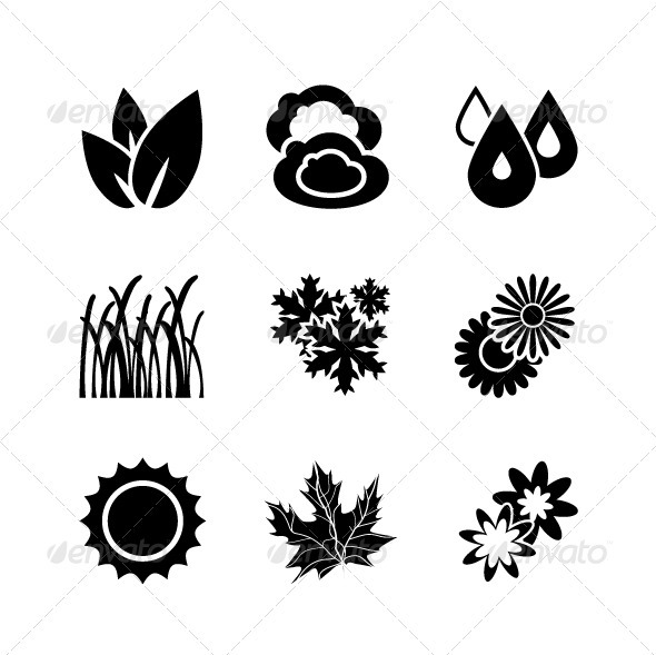 Black Nature Icons - Nature Conceptual