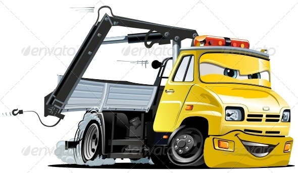 Vector Cartoon Tow Truck  - Characters Vectors