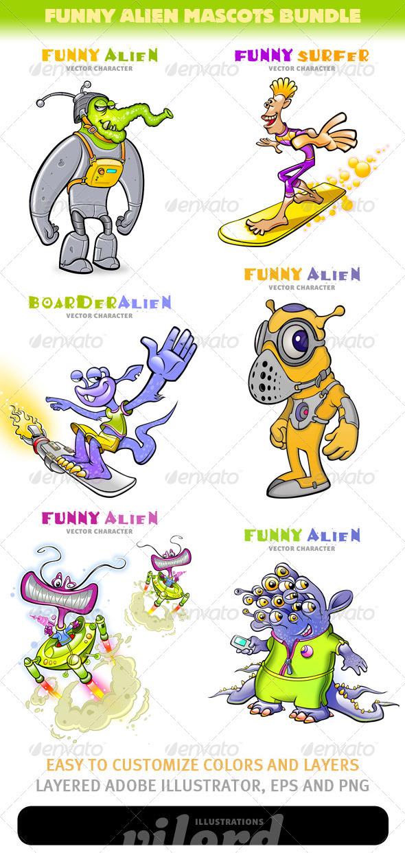 Funny Alien Mascots Bundle - Miscellaneous Characters