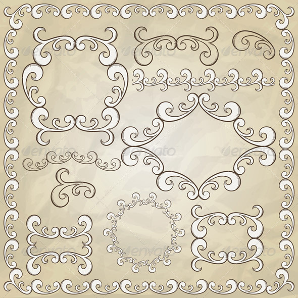 Vector Vintage Design Elements - Borders Decorative
