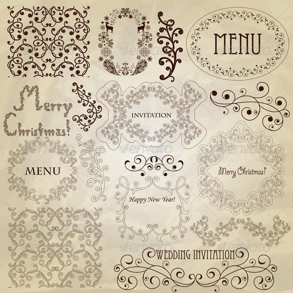 Vector Vintage Design Elements - Decorative Symbols Decorative