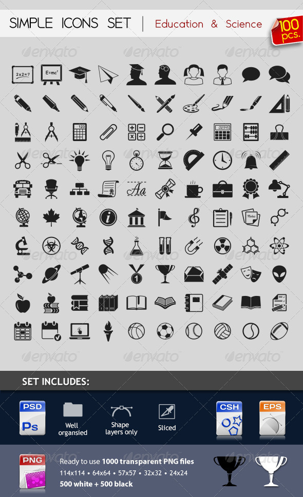 100 Simple Icons - Education & Science - Web Icons