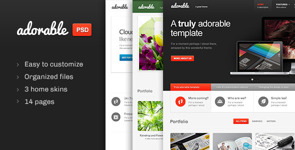 Adorable – Multipurpose PSD template