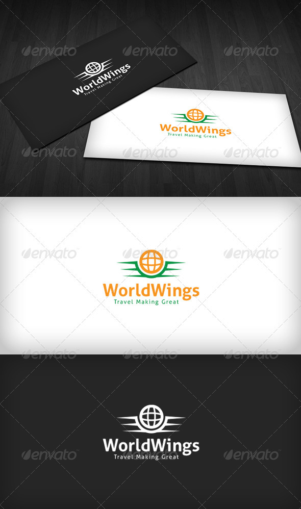 World Wings Logo - Vector Abstract