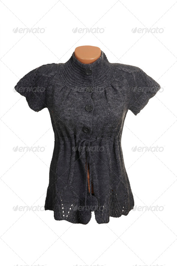 Grey blouse on a white. - Stock Photo - Images