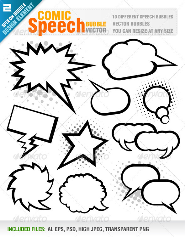 Comic Speech Bubbles Vector by Jackrust | GraphicRiver