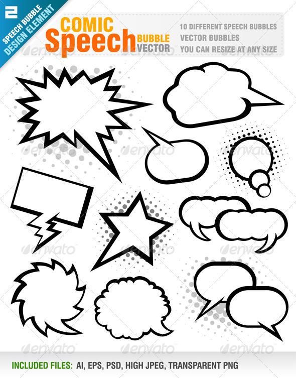 Comic Speech Bubbles Vector  - Decorative Vectors