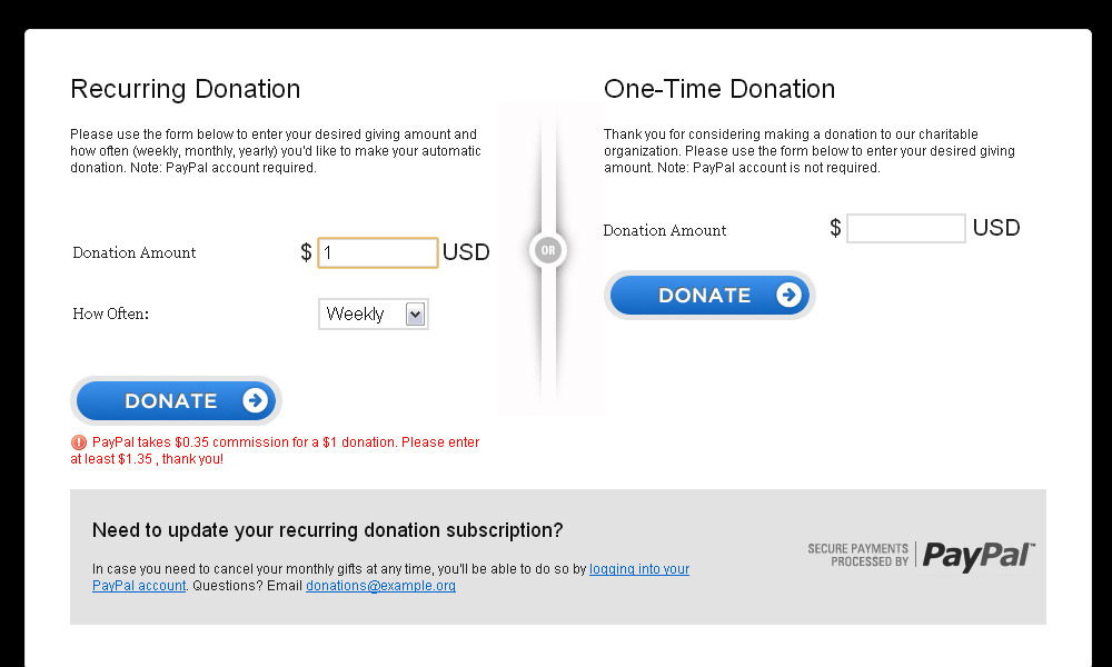 Screen 1 ...  Donation Form Example
