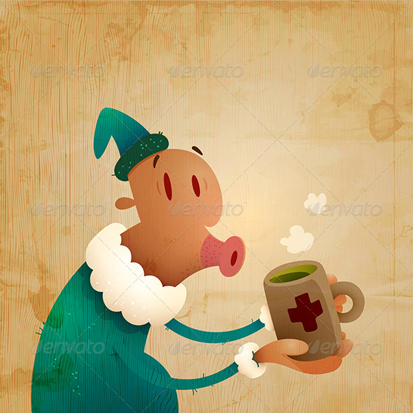 Man Caught A Cold And Drinks Hot Tea - People Characters