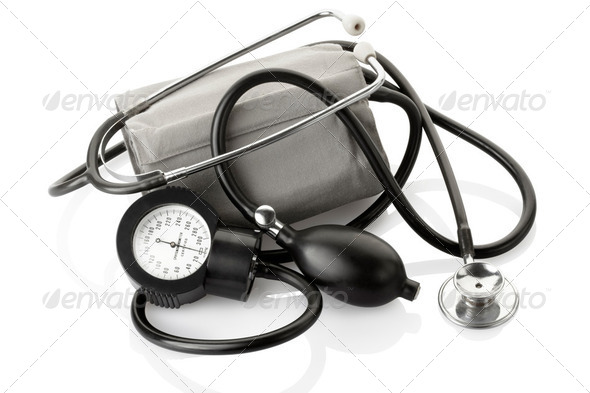 Medical sphygmomanometer and stethoscope, blood pressure control - Stock Photo - Images