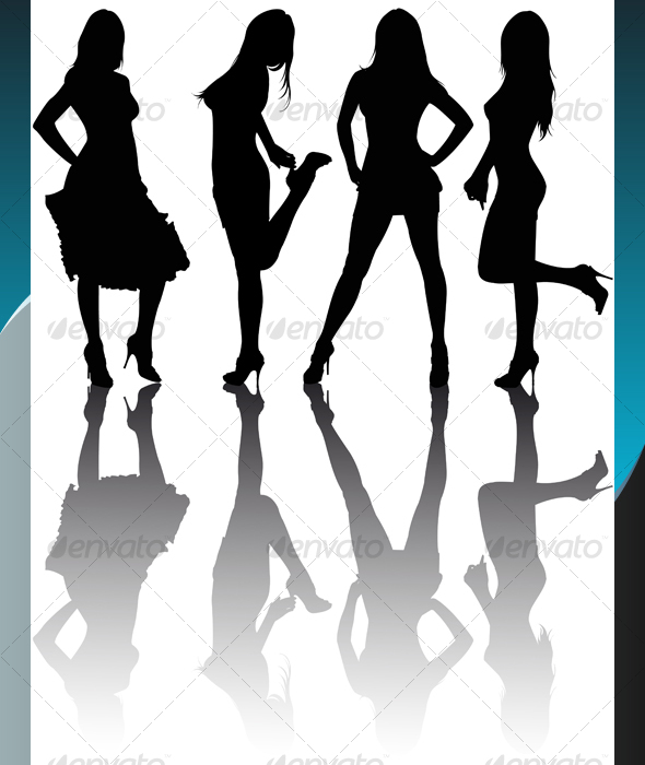 Silhouettes of Girls - People Characters