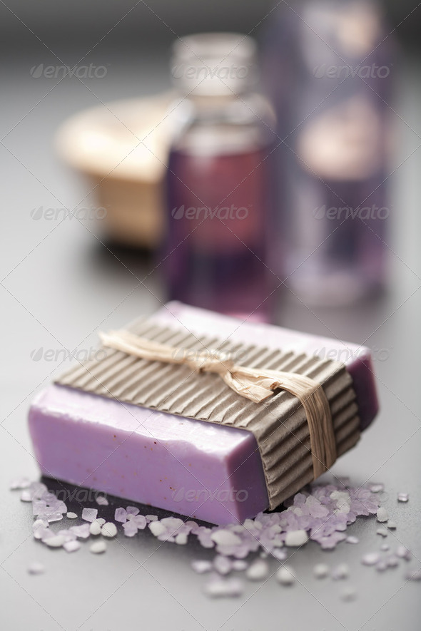 herbal soap and salt. spa and body care background - Stock Photo - Images