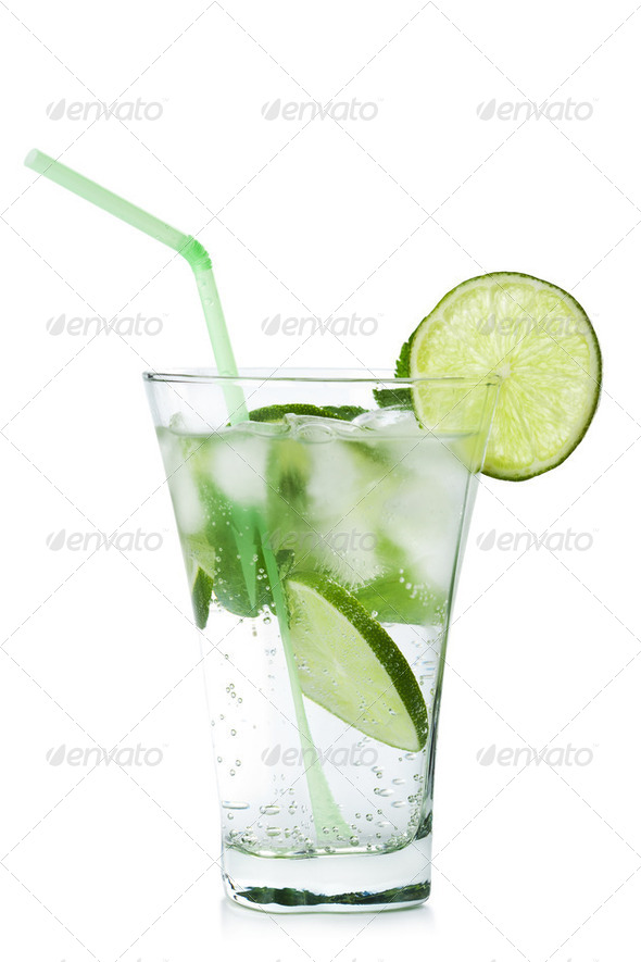 glass of  mojito isolated - Stock Photo - Images