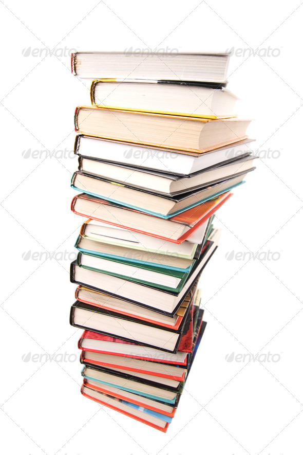 big pile of books isolated - Stock Photo - Images
