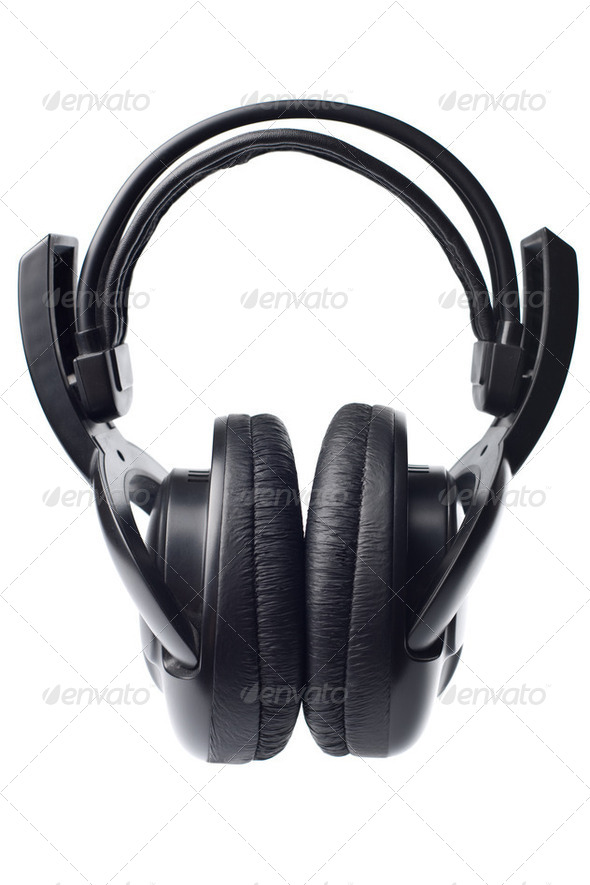 black headphones isolated - Stock Photo - Images