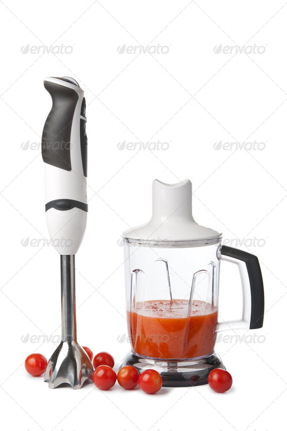 blender and tomatoes isolated - Stock Photo - Images