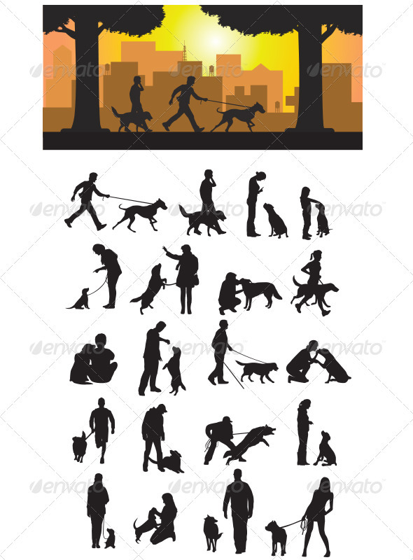 Dog And His Master Silhouette - Animals Characters